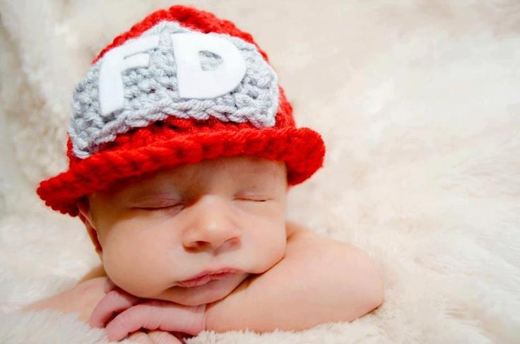 Crochet Fireman Beanie Hat/Photography Prop/Baby Shower ...