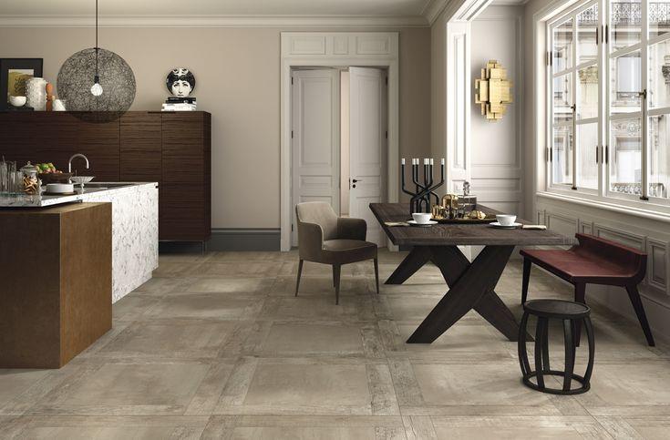 Prachtige hout-beton combinatie in 90x90 (51-GN) in een warme tint. Tegelhuys
