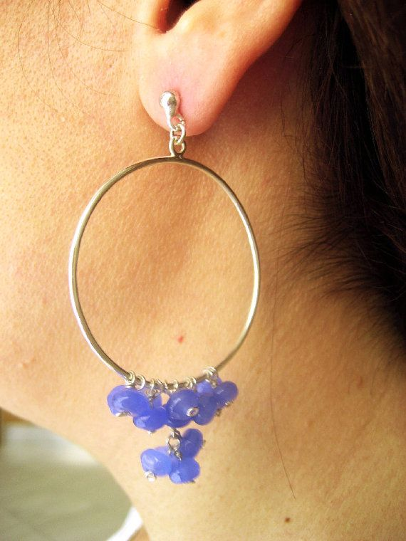Sterling silver hoops with blue agate.Earrings for a daily use.