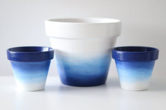 Navy Blue Pastel Blue White Ombre Design Plant Pot Set Of Four 1 X 15x13cm 3 X 9x8cm Indoor Or Outdoor Use Custom Order