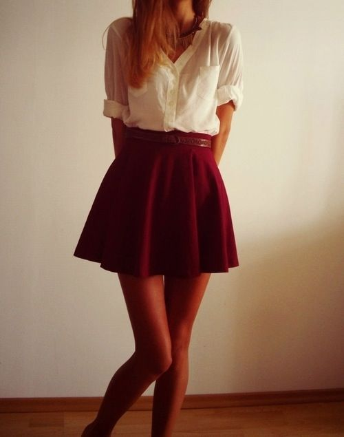 Bildergebnis für burgundy skirt