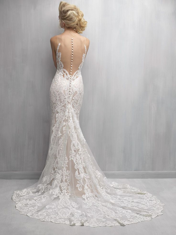 Beautiful illusion-back lace & satin Madison James Wedding gown
