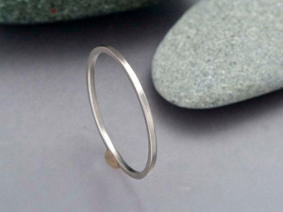 Square Platinum Wedding Band  Choice of 12mm by LichenAndLychee, $270.00