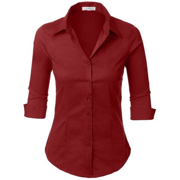 LE3NO Womens Roll Up 3/4 Sleeve Button Down Shirt with Stretch ($14) ❤ liked on Polyvore featuring tops, stretch shirt, three quarter sleeve shirts, stretch top, red button up shirt and red shirt