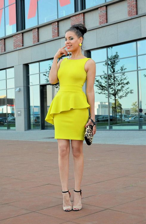 Asymmetric Yellow Peplum