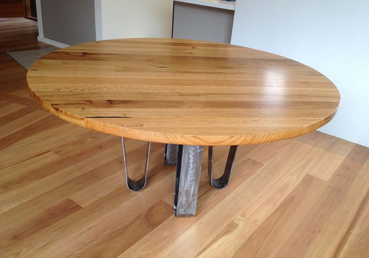 Knight Sabine round dining table 1500 mm in reclaimed wine vat french oak - sample from Brown Dog Furniture