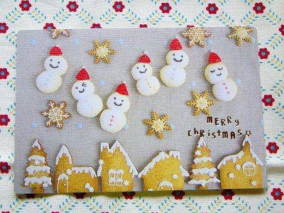 【Xmasポストカード】 アイシングクッキー<雪だるま>~クリスマスカード~ | 紙ものステーショナリー,ポストカード・グリーティングカード | | 「かわいい雑貨 屋 chotto futto」