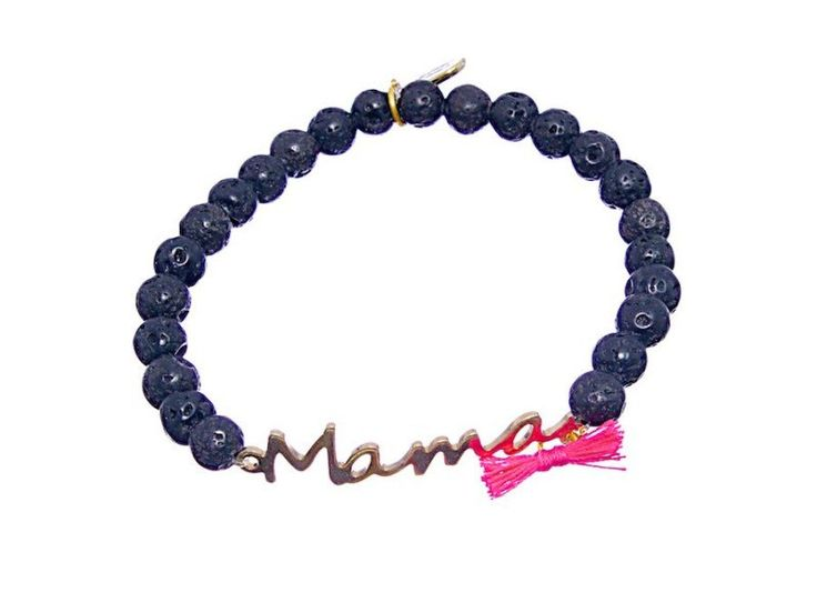 Mama custom natural stone bracelet - Personalized bracelet with bow of different colors: red,fuchsia,orange,blue and turquoise - Hand made by CuchiCuchiSHOP on Etsy