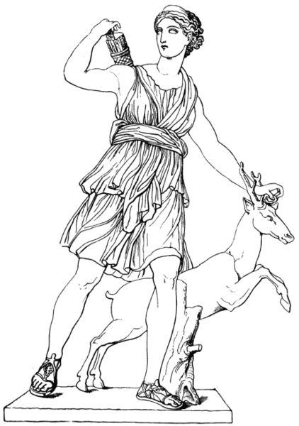 Artemis. Vollmer, Wörterbuch der Mythologie aller Völker, 1874. coloring page