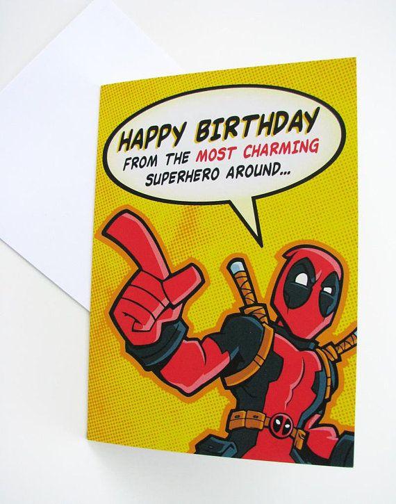 Deadpool Birthday Card Marvel Comics Professional Quality Etsy Deadpool Birthday Birthday Cards Cards