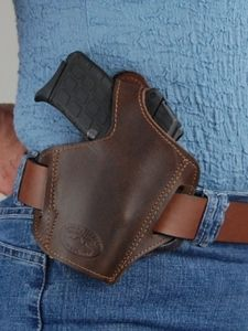 Barsony Dark Brown Leather Pancake Holster for 22 32 25 380 and Small 9mm 40 (#57BR)