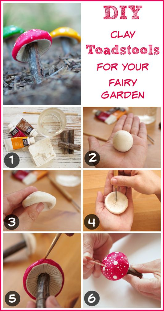photo of step by step DIY tutorial on how to make a clay toadstool for your…