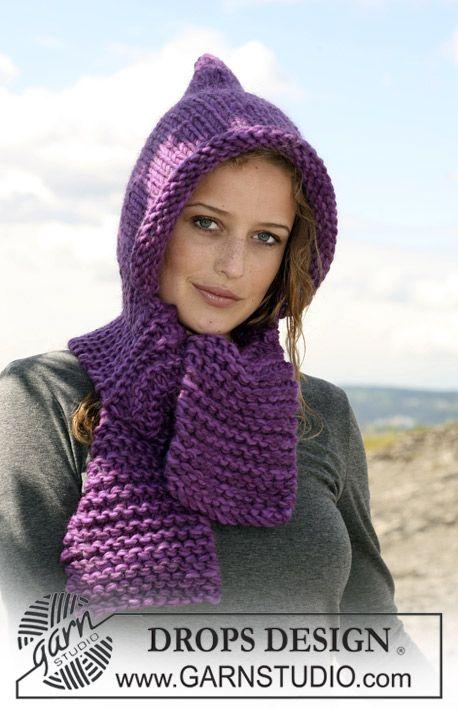Écharpe capuche DROPS tricotée avec 2 fils Eskimo. À tricoter également avec 1 fil «Polaris» ~ DROPS Design