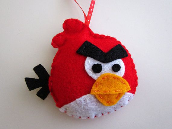 Red Angry Birds felt ornament