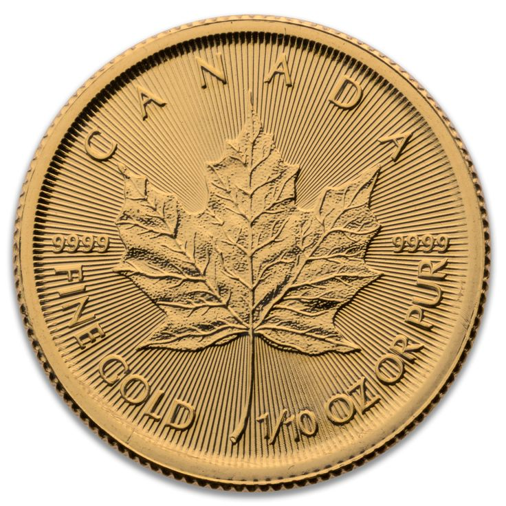 2017 CANADIAN GOLD MAPLE LEAF 1/10 OZ .9999