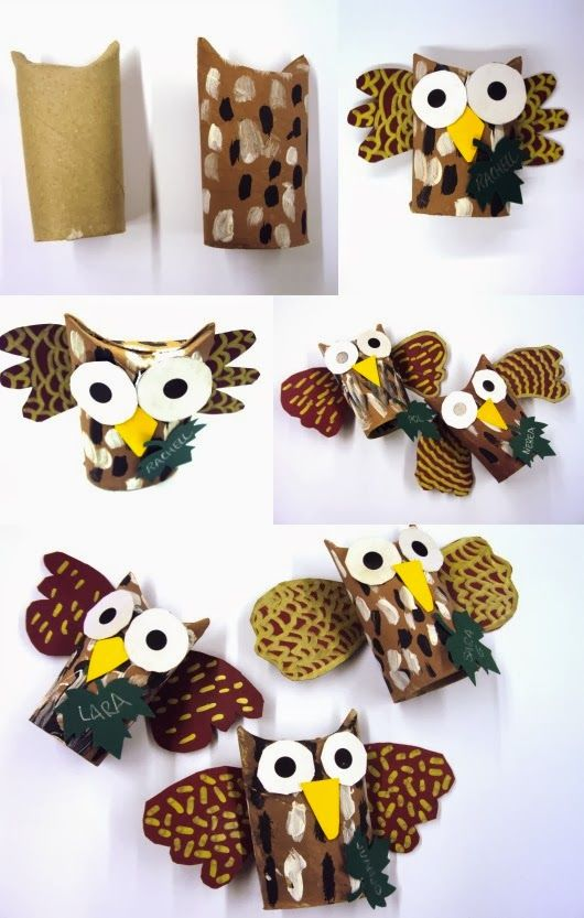 owls made from cardboard tubes / toilet paper rolls