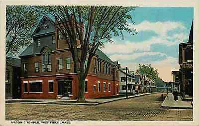 Westfield Massachusetts MA 1916 Masonic Temple Collectible Vintage Postcard Westfield Massachusetts MA 1916 Masonic Temple. Unused Curteich collectible antique vintage postcard in excellent condition.