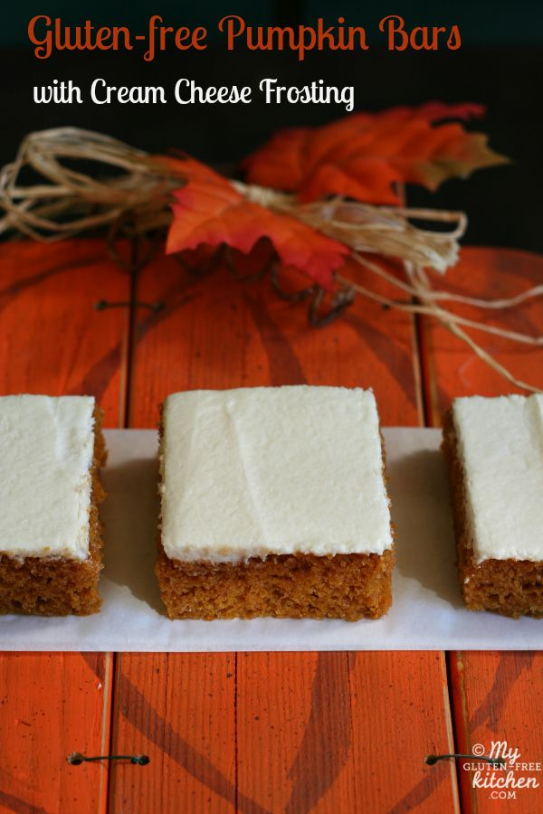 Gluten-free Pumpkin Bars with Cream Cheese Frosting ~~ These cinnamon spiced cake-like bars taste like fall! No one can tell they are gluten-free and everyone loves them!