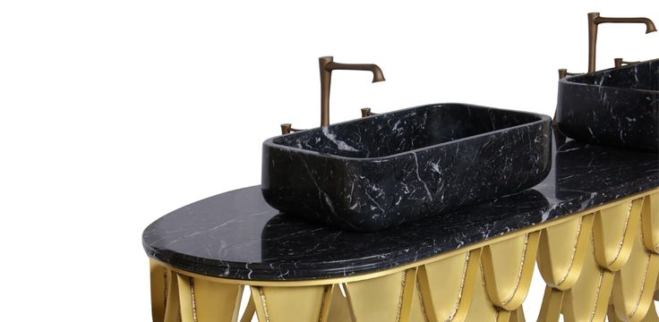 This brass double washbasin is inspired in the KOI Carp, a recurring symbol of Japanese culture highly appreciated by its decorative purposes. Its natural color mutations reveal their capacity to adapt just like the KOI double washbasin fits in any luxury bathroom.