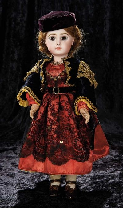 Soirée: A Marquis Cataloged Auction of Antique Dolls and Automata - May 14, 2016: Lot 41. French Bisque Bebe Jumeau, Lady Body, Original Spanish Costume, Signed Jumeau Shoes
