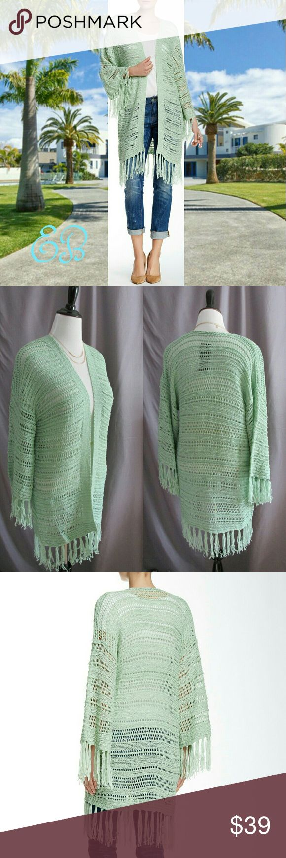 """Fringe Kimono Size XL Seafoam Green Fringe Kimono Size XL Seafoam Green  Condition:  NWT  Type: Jacket Style: Kimono  Size: XL Color: Pistachio  Brand: John Fashion  Features: Fringe Measurements: 41"""" Chest 31.5"""" Length 15"""" Sleeve Materials: 45% Wool 40% Polyester 15% Acrylic Country of Manufacturer: China  Closet Note: brand tag is unraveling from collar. Also,  item is very stretchy. Sleeve and length measurements without fringe. John Fashion  Jackets & Coats"""