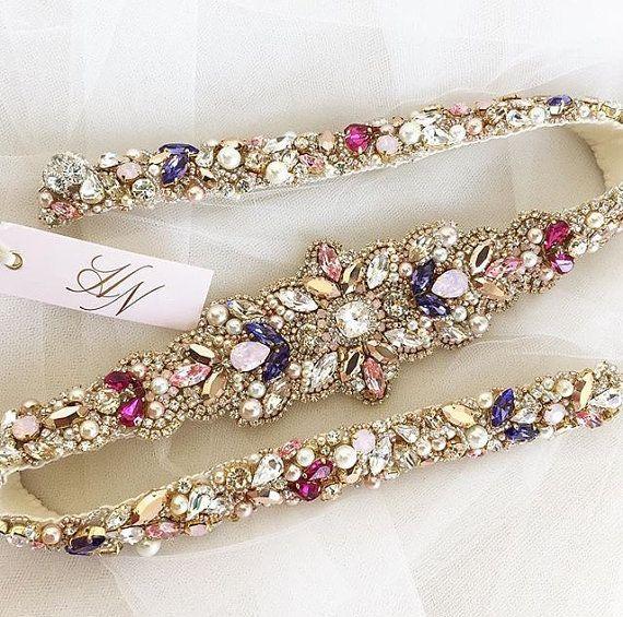 Rosa und Gold Crystal Bridal Gürtel  von HelenaNoelleCouture