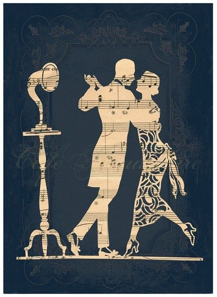 Silhouette cut out over music sheet or possibly book page, etc. Silhouet of a couple on their wedding day over a sheet from their first dance song!