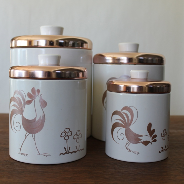 Vintage Canister Set Ransburg Rooster Faux Copper Canisters Set Of 4