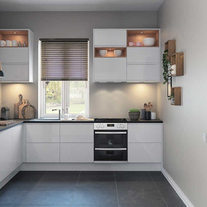 City white fitted kitchen by magnet whitekitchen cgi for Small fitted kitchens