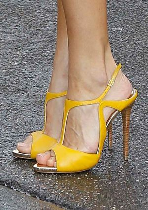 Incredibly In yellow and high heels …