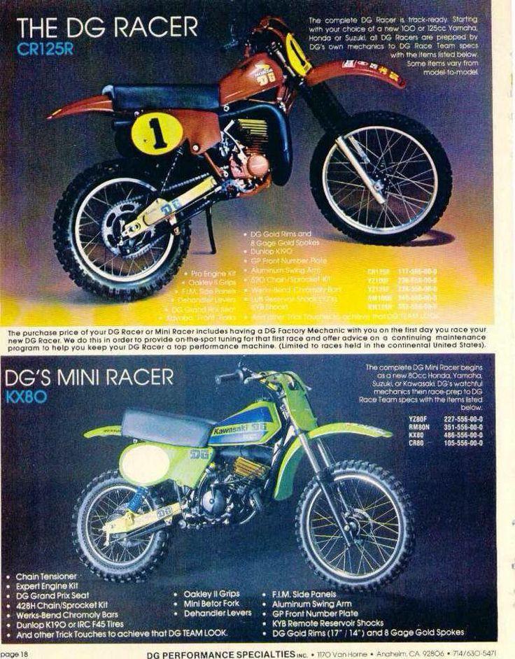 1979 - DG Racer Ad - Honda CR125R - Kawasaki KX80 Dirt Bikes