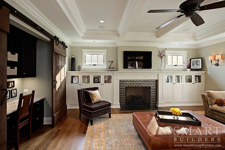 Contemporary Craftsman Style Custom Home U2022 Family Room U2022 Sliding Barn Doors  U2022 Fireplace U2022 Computer Desk U2022 Hardwood Floors U2022 SMART Builders, Inc. |  Pinterest ...
