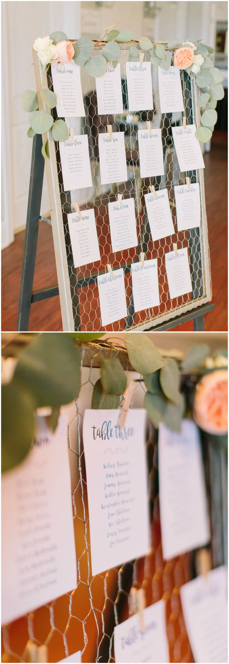 Wedding reception table assignments, mini clothespins, peach and cream florals, leaves // Nicki Metcalf Photography