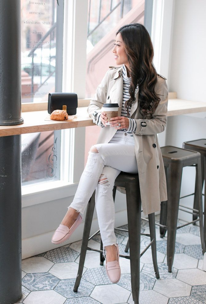 Extra Petite. White and navy striped tee+white distressed jeans+blush loafers+beige trenchcoat+navy clutch. Spring Casual Outfit 2017