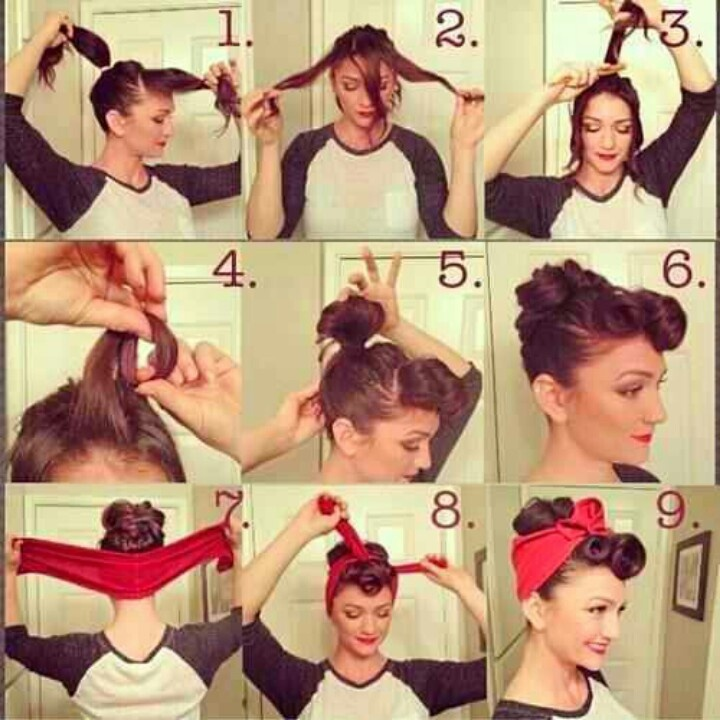 Easy 9 step rockabilly hair style. No curling iron needed! Elastic band, bobby pins, and scarf. Spray it and go.