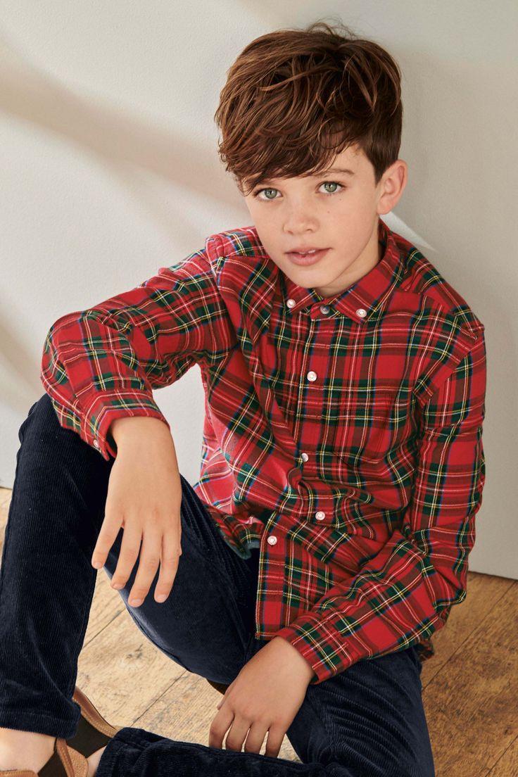 Boys next red long sleeve tartan shirt 316yrs red
