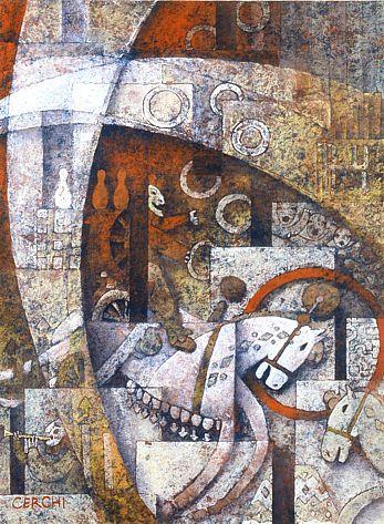"Galleria scorrevole. Sergio Cerchi, italian painter (Firenze), ""Circus"", gouache."