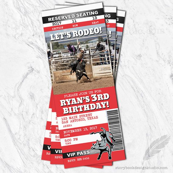 Rodeo Birthday Invitations rodeo tickets stubs pbr pro