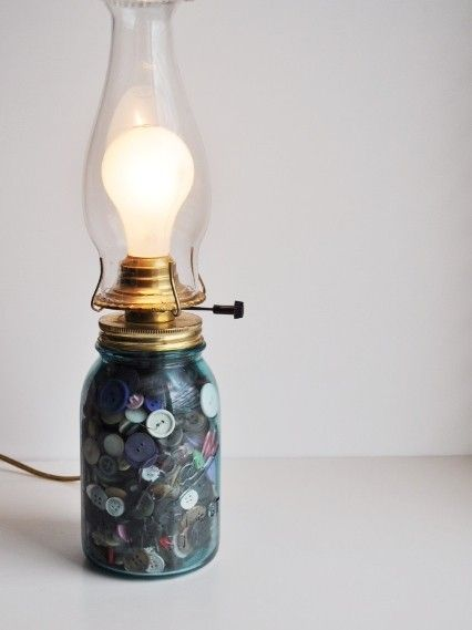 Mason Jar Lamp with Buttons and an Electrified Hurricane Lamp Base
