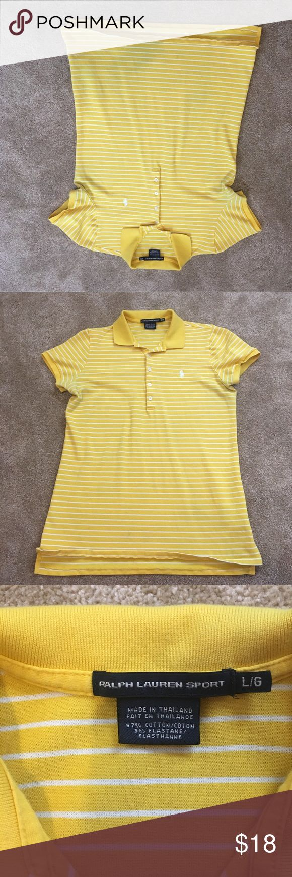 Ralph Lauren Sport yellow polo size L Gently used yellow Ralph Lauren Sport polo shirt in size large.  Polo is yellow and white stripped.  This is a slim fitting shirt. *any offer will be considered* willing to bundle ralph lauren sport Tops Tees - Short Sleeve