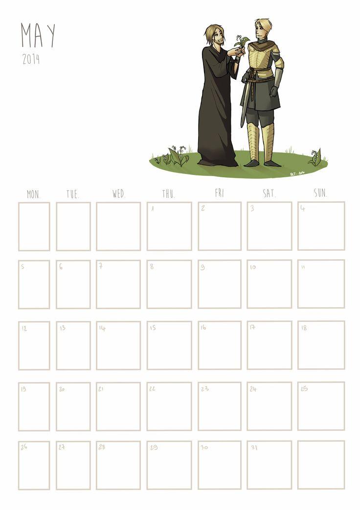 May 2014 Calendar : Jaime x Brienne #got #asoiaf