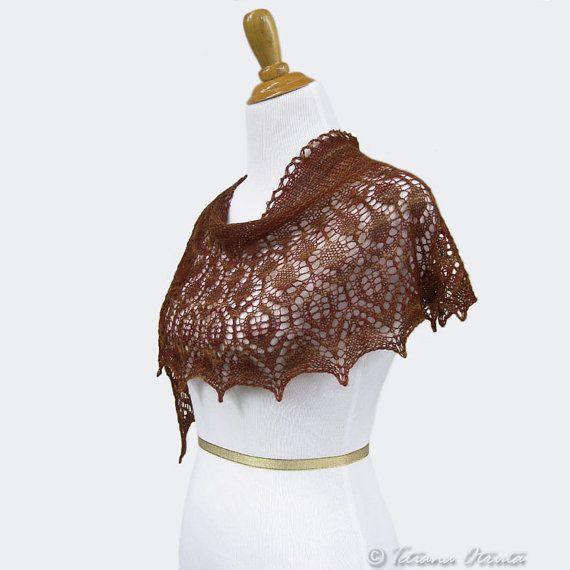 Hand knit lace shawl brown mustard scarf alpaca silk cover up