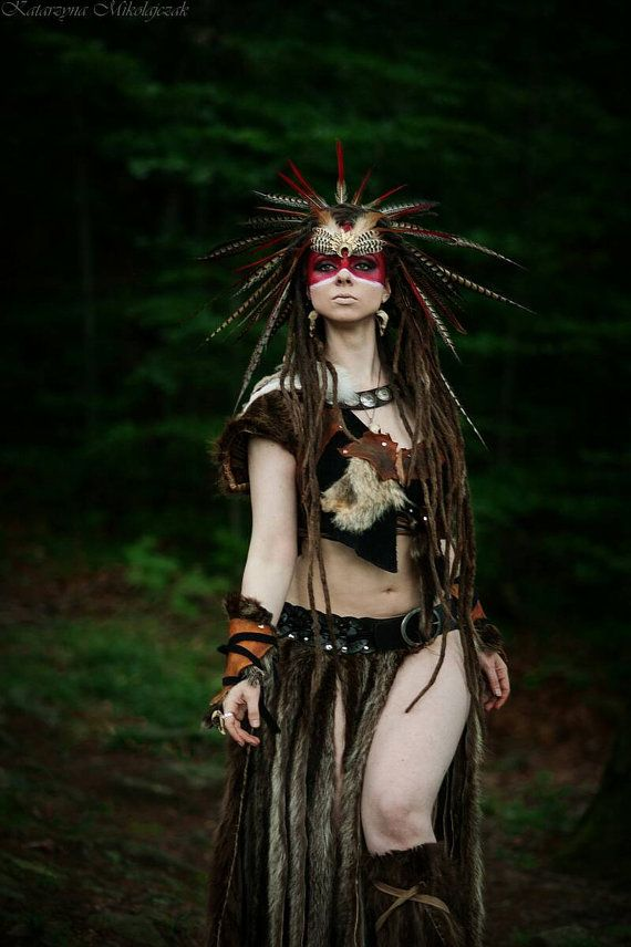 Barbarian Costume, Full 5 Piece Costume, Nature Goddess Costume, Viking, Fur Leather Costume, Savage Costume, Tribal Warrior Headdress