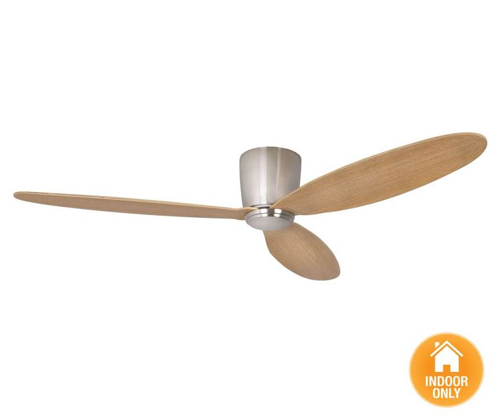 Beacon Lighting - Airfusion Radar 132cm low profile DC fan only in brushed chrome with teak blades complete with 6 speed remote controller