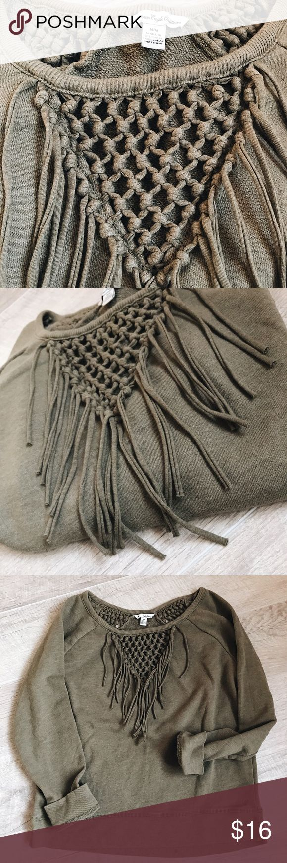 American Eagle 🦅 Outfitters fringe sweatshirt Army green fringe sweatshirt! AEO! Crochet & fringe front✔️crochet back✔️wear with shorts, jeans, leggings! Great for those chilly summer nights! 🌙 Size M. 21'L, 18 1/2' armpit to armpit, 24'L arms. Offers are welcome! ✌🏼no trades thank you American Eagle Outfitters Tops Sweatshirts & Hoodies