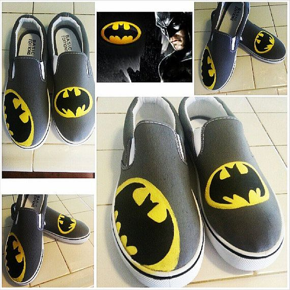 Custom Painted Shoes, Batman Shoes on Etsy, $35.00