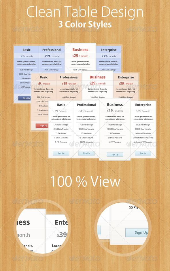 3 Clean & Simple Pricing Tables - #Tables #Web #Elements Download here:  https://graphicriver.net/item/3-clean-simple-pricing-tables/1928644?ref=alena994