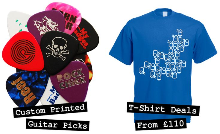 Custom merchandise at the most competitive prices in the UK for bands and business. Printed guitar picks, badges, stickers and lots more. -- www.mybadges.co.uk