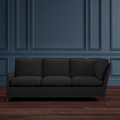 Addison Three Corner Sofa Left Down Blend Luxe Velvet Dark Grey
