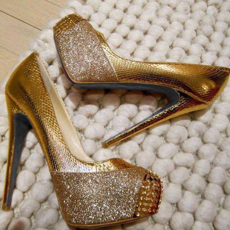 Shoespie Gliden Glitter Round-toe Platform Heels